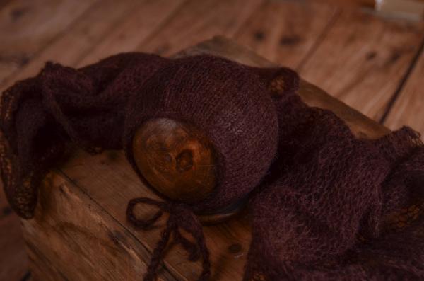 Set Wrap aus Angora mit Mütze in Dunkelbraun