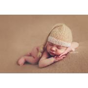 Mütze aus Angorawolle mit Knoten - beige