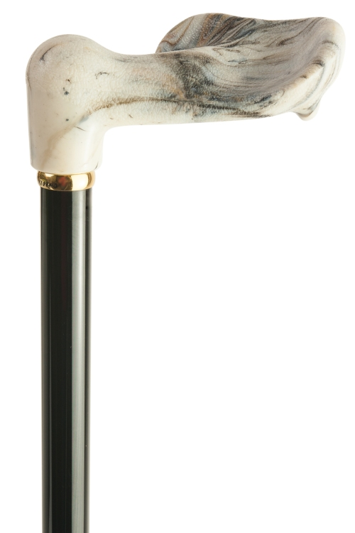 Anatomical Marbled Telescopic Walking Stick - Left