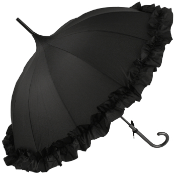 Lisbeth Black Flounce Pagoda Umbrella by Chrysalin
