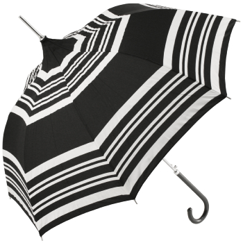 Black Pagoda Umbrella with Cream Stripes by Molly Marais